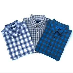 (3) Nautica Plaid Button Down Shirt Bundle.